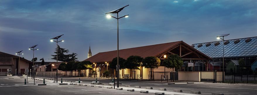 eclairage solaire parking ecole